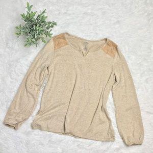 St. John's Bay Tops - St. John's Bay Tan Long Sleeve Sweatshirt Large